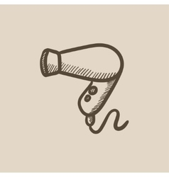 Hair dryer sketch icon vector