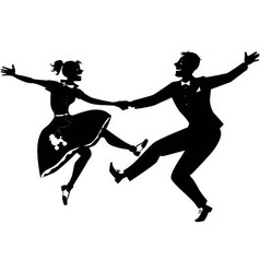 Rock and roll dancing silhouette vector image