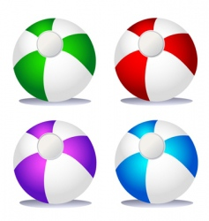 set of coloured beach balls vector image vector image