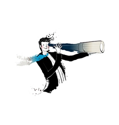 Side view of man holding telescope vector image