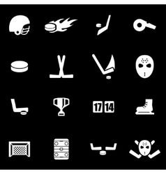 white hockey icon set vector image vector image