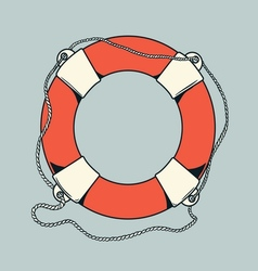Detailed outlines colored nautical life buoy vector image