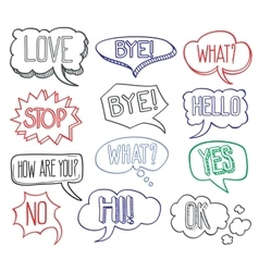 Hand drawn sketch speech bubbles clouds with vector image