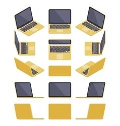 Isometric golden laptop vector image
