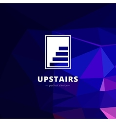negative space stairs logo Brand sign on vector image