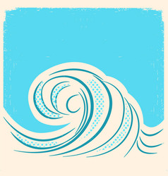 Sea wave retro water wave background vector