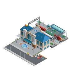 Train station isometric miniature vector