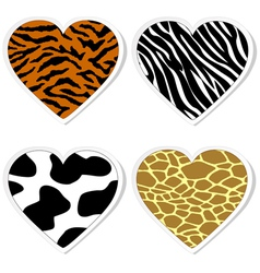 Animal print heart stickers vector image vector image