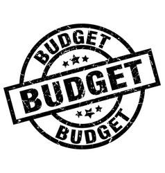 budget round grunge black stamp vector image