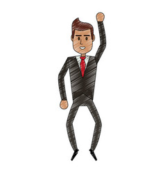 Color pencil full body executive man with formal vector