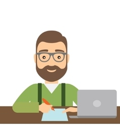 Man with pen writes on paper Laptop is on the vector image vector image