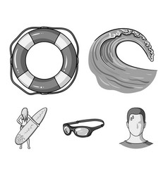 oncoming wave life ring goggles girl surfing vector image vector image