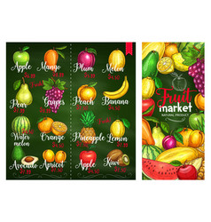 price banners of tropical exotic fruits vector image vector image