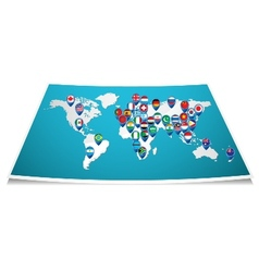 World map with pin vector image