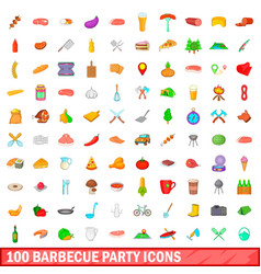 100 barbecue party icons set cartoon style vector