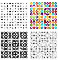 100 it business icons set variant vector image