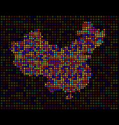 abstract map of china colorful dots vector image