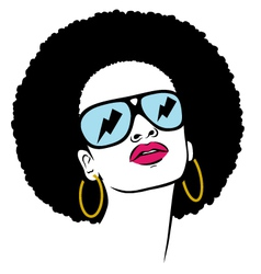 Afro with glasses thunder vector