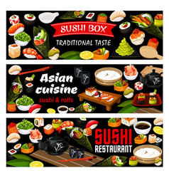 Asian sushi rolls food japanese seafood cuisine vector