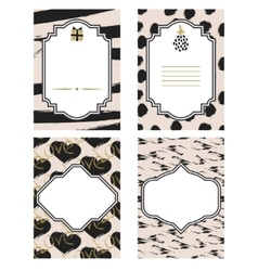 Birthday card black and white template set Gold vector