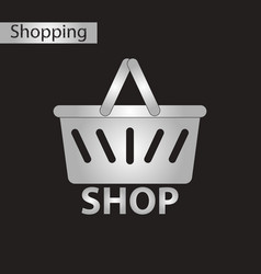 Black and white style icon basket shop vector