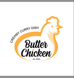 butter chicken logo traditional indian food curry vector image
