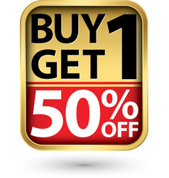 Buy 1 get 1 50 golden label with red ribbon vector