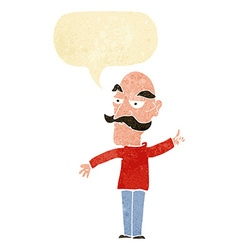 Cartoon old man telling story with speech bubble vector