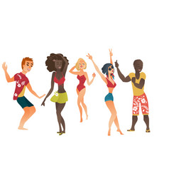 Cartoon people dancing at beach party set vector