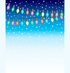 christmas and new year background with garland vector image