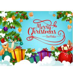 Christmas holiday greeting card with santa gift vector