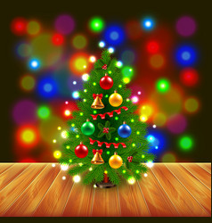 Christmas tree on wooden table vector
