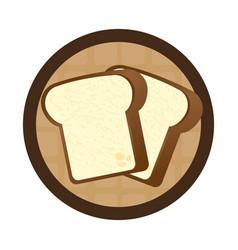 Circular wooden border with slice of bread vector