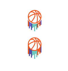color basketball brush symbols vector image