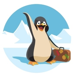 cute cartoon penguin holding a suitcase vector image