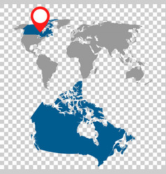 Detailed map of canada and world map navigation vector