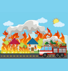 emergency house fire background vector image