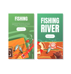 fishing river landing page templates outdoor vector image
