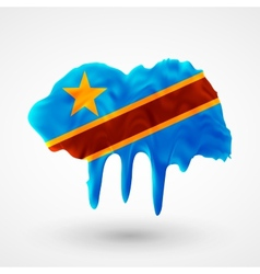 Flag Democratic Republic of Congo painted colors vector