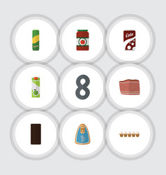 Flat icon food set of fizzy drink packet beverage vector