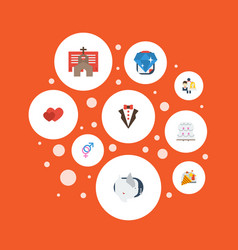 Flat icons sparkler love patisserie and other vector