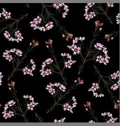 floral vintage seamless pattern pink flowers vector image
