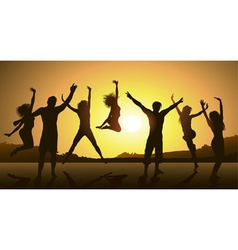 Friends Jumping During a Sunset vector image