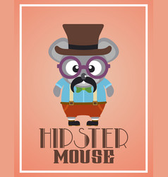 Funny hipster mouse vector
