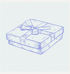 Gift box hand drawn sketch on notebook sheet vector