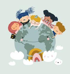 Globe kids international friendship day earth vector