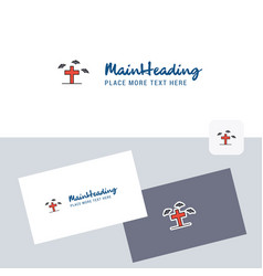 Grave logotype with business card template vector