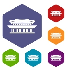 Gyeongbokgung palace Seoul icons set vector