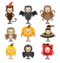 Halloween Cartoon Character Design Set vector image