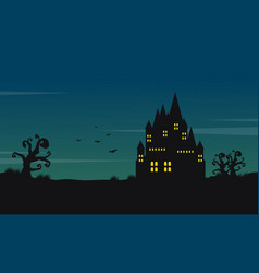 halloween landscape with castle at night vector image vector image